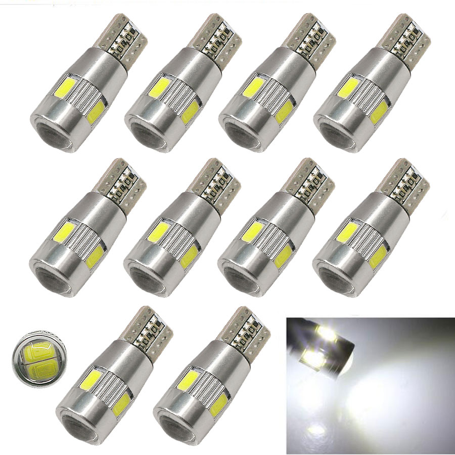 10PCS Car Styling Car LED T10 194 W5W Canbus 6 SMD 5630 LED Light Bulb No Error Auto LED Clearance Light T10 LED Car Side Lamp 10pcs led car interior bulb canbus error free t10 white 5730 8smd led 12v car side wedge light white lamp auto bulb car styling
