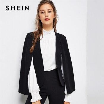 cd4fcf06cc91 SHEIN Poncho negro Oficina Streetwear capa frente abierto chaqueta otoño  2018 moderno elegante dama ropa de las mujeres abrigos prendas de vestir  exteriores