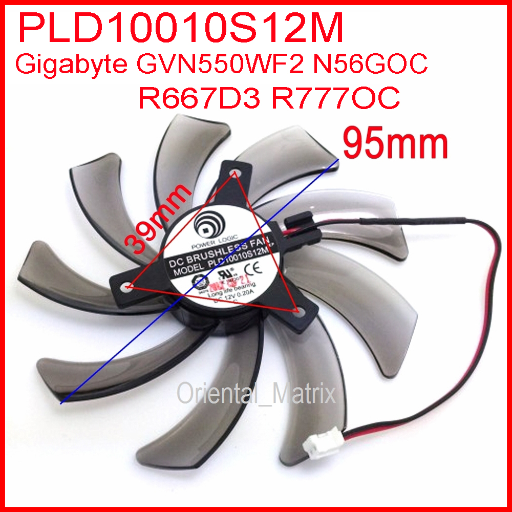 Free Shipping POWER LOGIC PLD10010S12M 12V 0.20A 95mm For Gigybyte GVN550WF2 N56GOC R667D3 R777OC Graphics Card Cooling Fan 2Pin