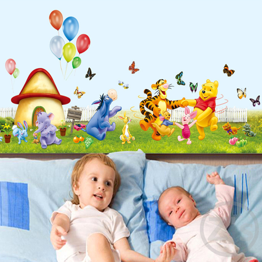 large 50cm * 70cm winnie the pooh wall stickers cartoon home decor animals adhesive cute decal for kids rooms AY7039
