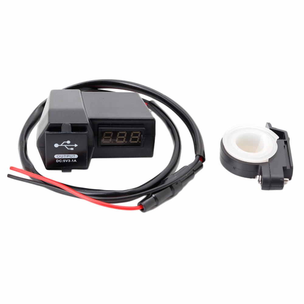 Motorcycle 2 USB Power Socket Charger With LED Voltage Voltmeter 3 1A 2017