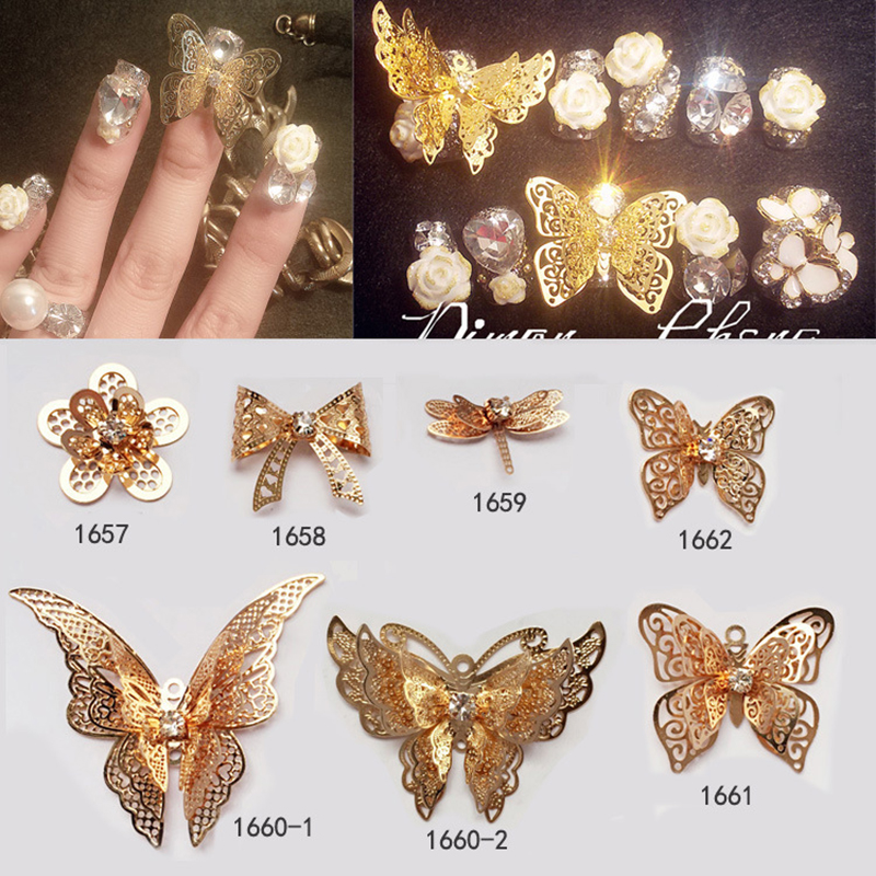 ᐂGold Alloy Hollow Bride Extravagant Larger 3d Nail Art Butterfly ...