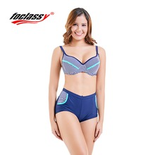 2018 new fat big size bikini steel support stripe cup ladies swimsuit Qi Leiyong two-piece  1876