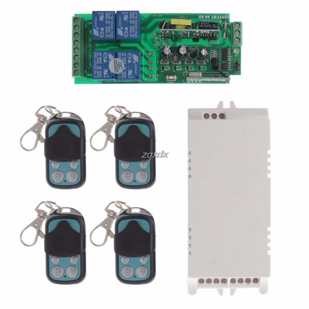 85-250V 4CH RF Relay Wireless Remote Control Switch Security System 1 Receiver + 4 Transmitter Z17 Drop ship 4ch rf wireless remote control relay switch security system1receiver