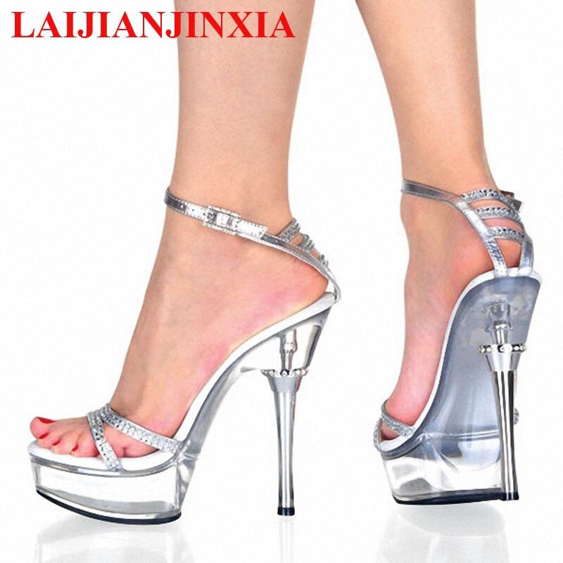 7251f7e51474 LAIJIANJINXIA Super High Sandals 5 1 2 Inch Thin Heels High heeled shoes 14  CM Super High Fashion Women Shoes-in High Heels from Shoes on  Aliexpress.com ...