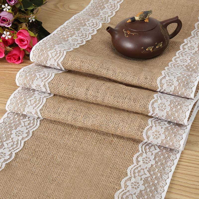 HAZY Wedding Burlap Table Runner Jute Linen Table Runner For Birthday Party Christmas New Year Dining Table Home Decoration