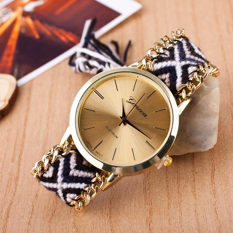 Relojes De Mujer  New Brand Geneva Handmade Braided Fashion Women Bracelet Quartz Watch Lady Holiday Gift  Wholesale Zegarki