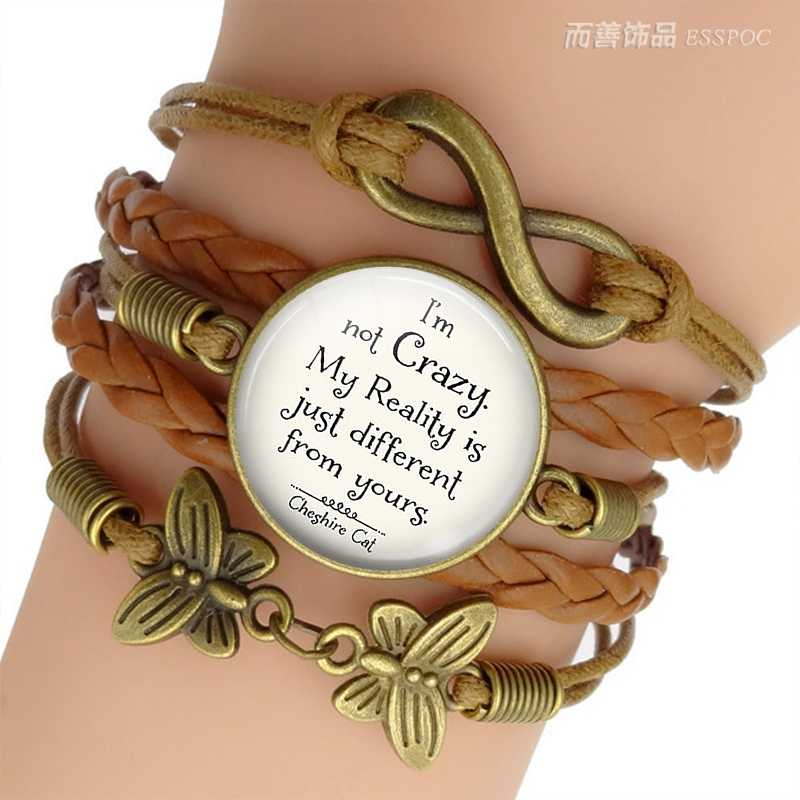 """I'm Not Crazy  "" Alice In Wonderland Quote Jewelry Glass Dome Cabochon Multilayer Leather Bracelet Handmade Gift"