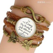 Многослойный кожаный браслет «i'm not crazy» с цитатами