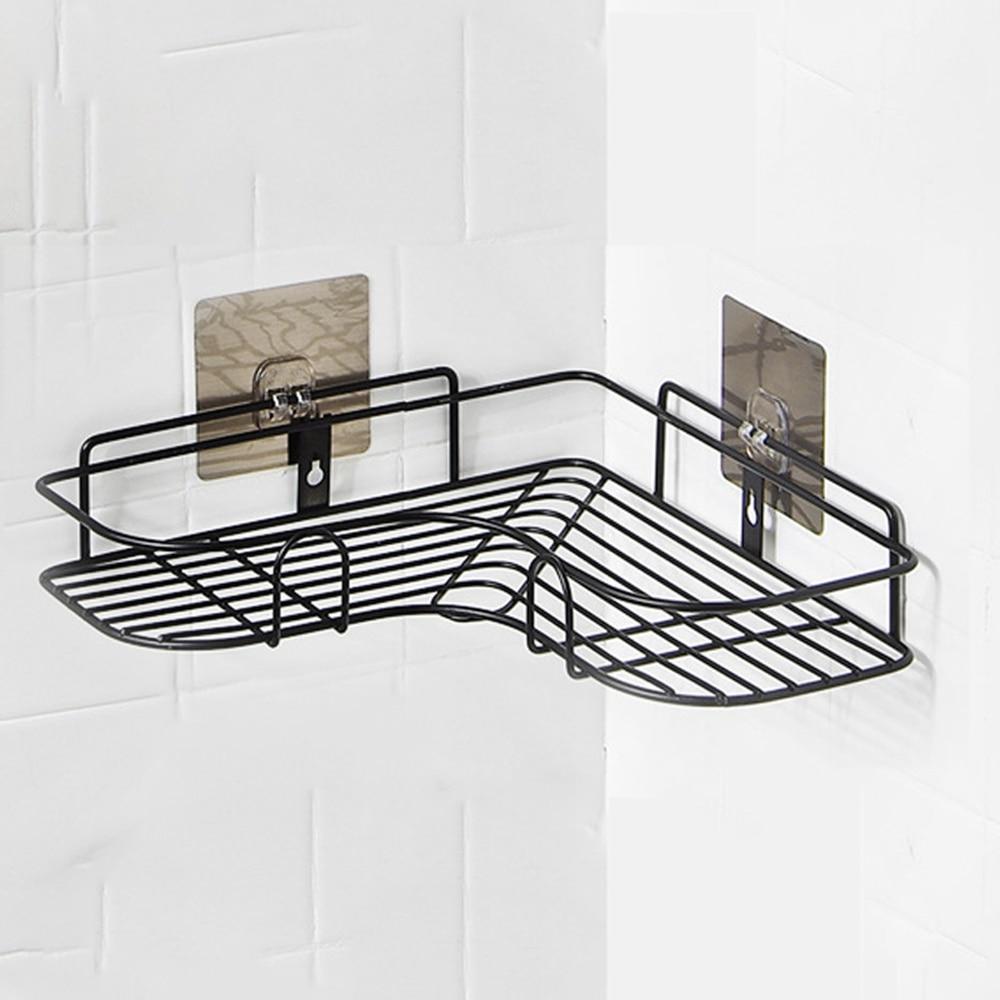 Punch Free Corner Triangle Rack Bathroom Wrought Iron Storage Rack ...