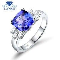 Solid 14 K Wit Goud 8mm Kussen Cut Natuurlijke Diamant Blue Tanzanite Gepersonaliseerde Belofte Ringen WU64TA