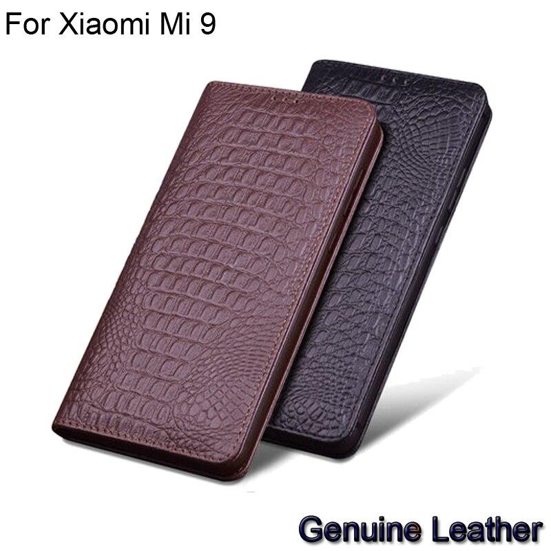 Flip en cuir véritable de luxe pour Xiao mi 9 demi-paquet en cuir étui de téléphone pour xiaomi mi 9 coques de téléphone antichoc pour Xiao mi 9
