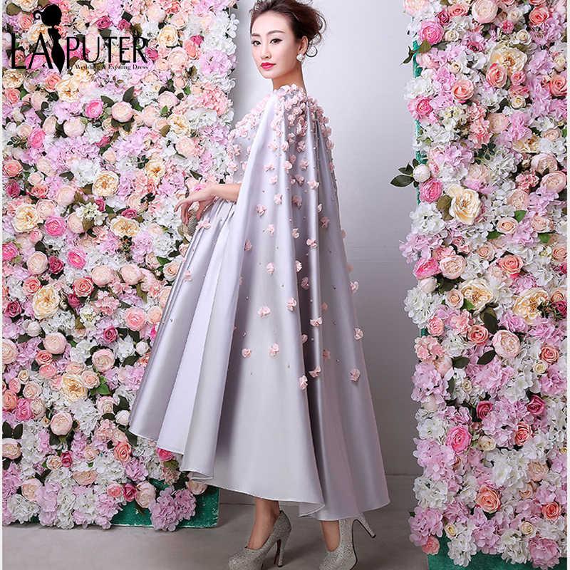 cf6b1b1734b1c ... Arabic Vintage Silver 3D Flowers Prom Dresses Robe De Soiree Courte 2016  Formal Party Gowns Ankle ...