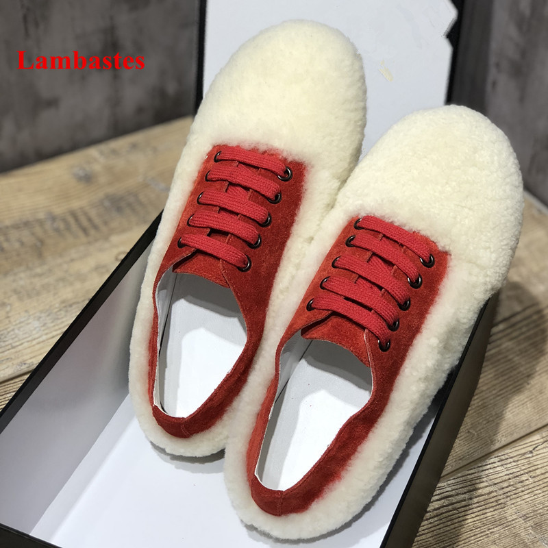 2018 Hot Winter Fur Designer Mixed Color Women Flats Lace Up Leather Platform Casual Shoes Cross-tied Round Toe Chaussures Femme winter women casual shoes 2018 hot red round toe lace up snake pattern fur women flats velvet platform shoes women zapatos mujer