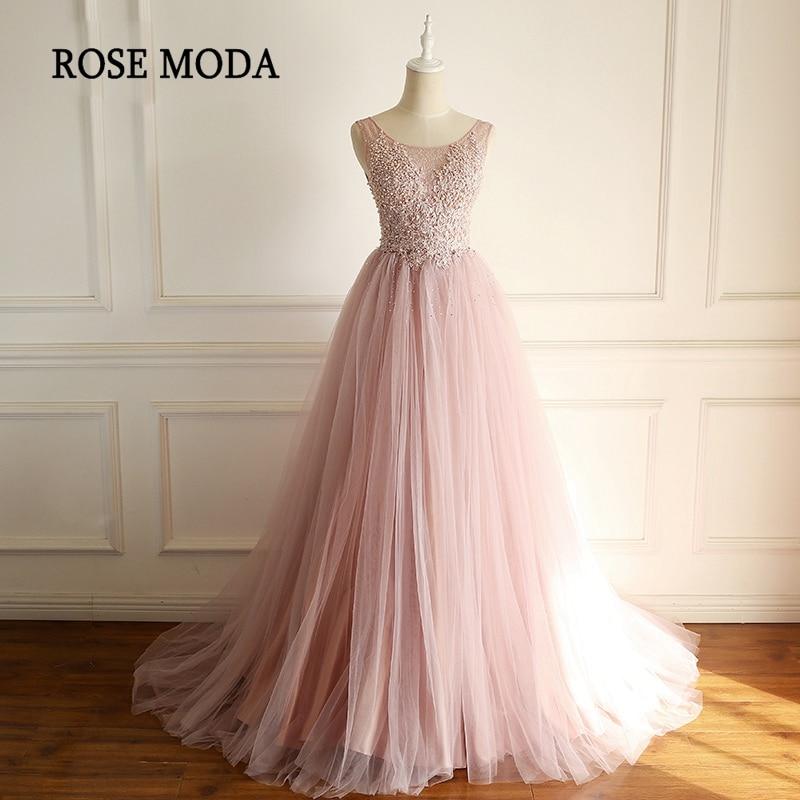 Rose Moda Formal Pink   Evening     Dress   Crystal Beaded Lace Long   Evening     Dresses   2018 Custom Made