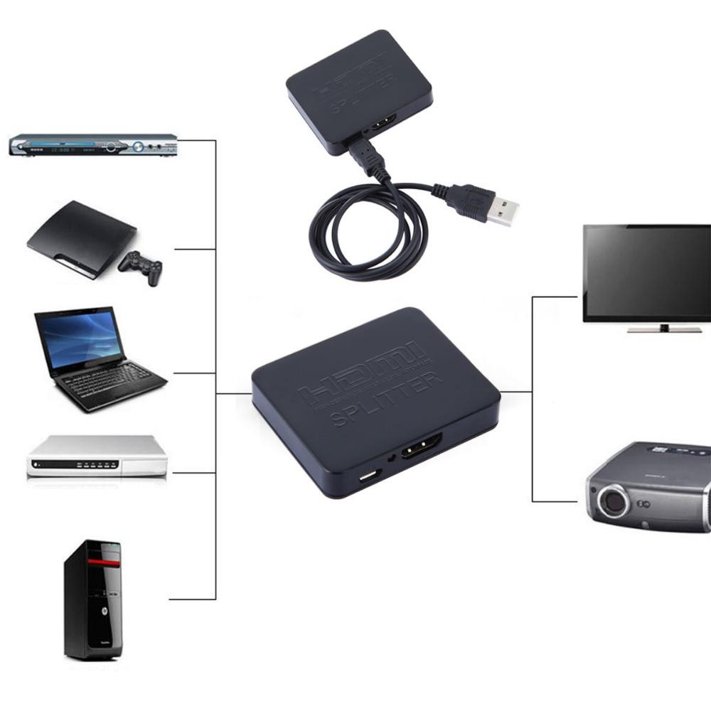 1080 P Mini 2 Port HDMI Splitter Switcher 1x2 1 dans 2 out HDMI Splitter Distributeur Pour XBOX HDTV PS3/PS4 Pour TV box date