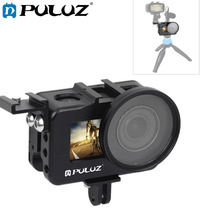Puluz 하우징 쉘 dji osmo 액션 액세서리 용 cnc 알루미늄 합금 보호 케이지 및 52mm uv 렌즈 및 콜드 슈베이스 및베이스 어댑터