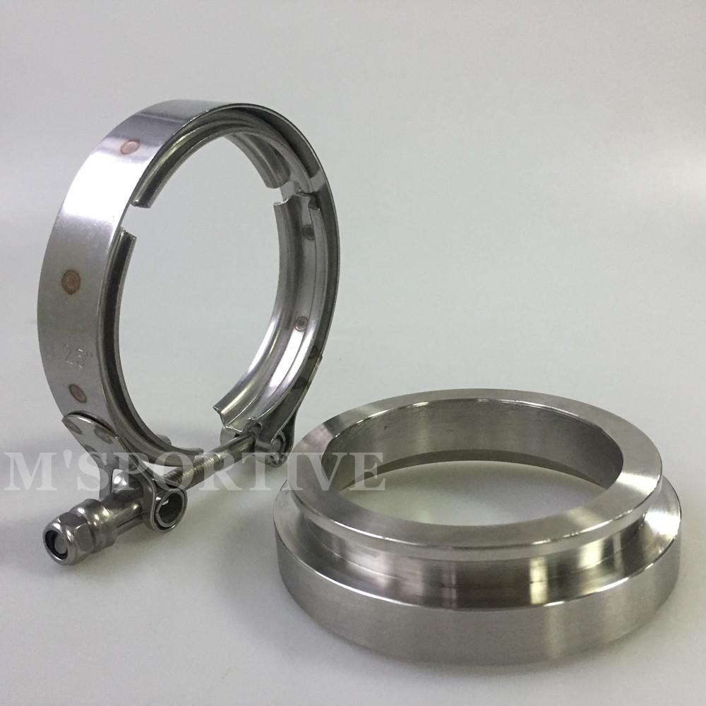 """T304 GT45 3.25/"""" SS 304 TURBO DOWNPIPE EXHAUST DOWN PIPE V-BAND CLAMPS+FLANGE"""