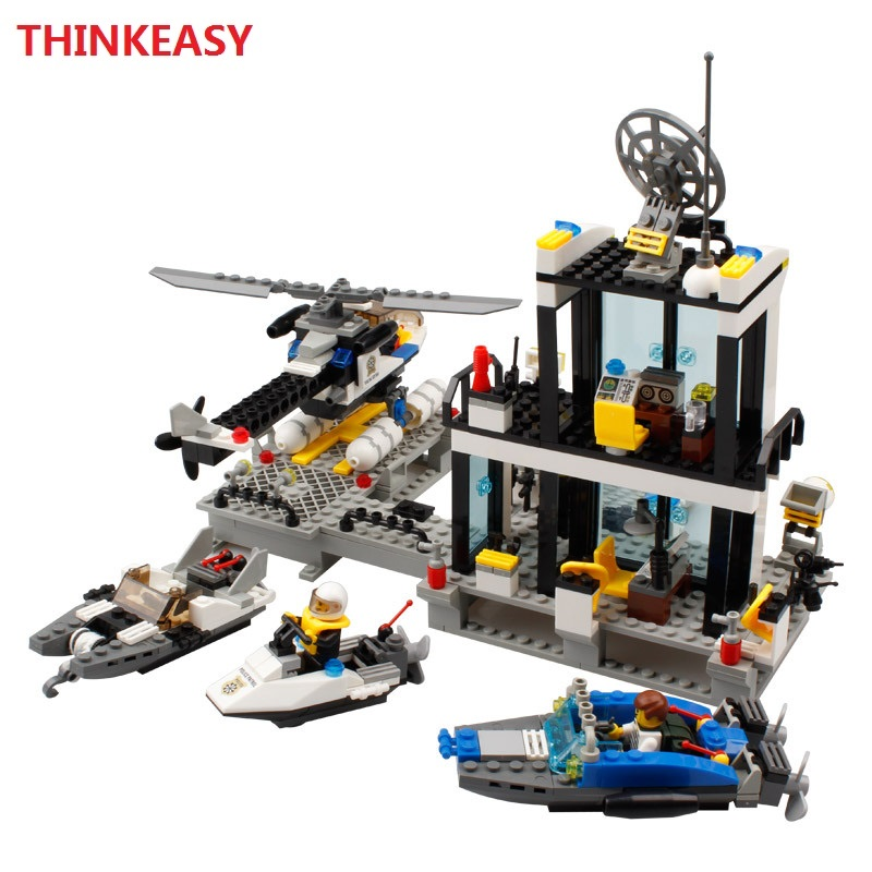 New Building Blocks Compatible Police Station truck City Plane 536pcs Helicopter Speedboat Educational DIY Bricks Toys lepin bohs building blocks city police station coastal guard swat truck motorcycle learning