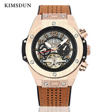2019 Luxury Automatic Mechanical Mens Watches Relogio Leather Business Watch Men erkek kol saati Male Clock KIMSDUN Montre Homme ik colouring luxury brand mechanical hand wind watches nail scale hollow hardlex full steel business mens watch erkek kol saati