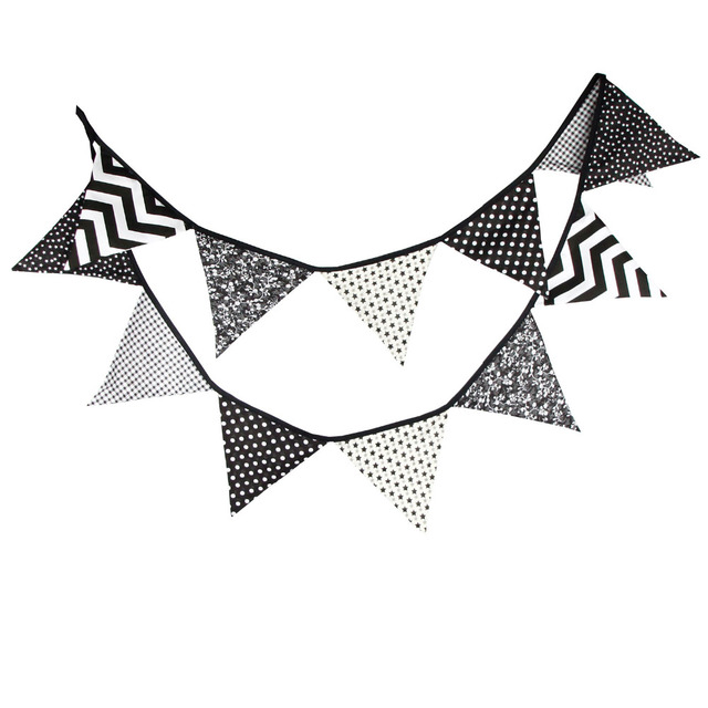 3.2M Black white Wave Fabric Bunting Flags Handmade Party Decoration Banner Home Indian Tent Bunting  sc 1 st  AliExpress.com & 3.2M Black white Wave Fabric Bunting Flags Handmade Party ...
