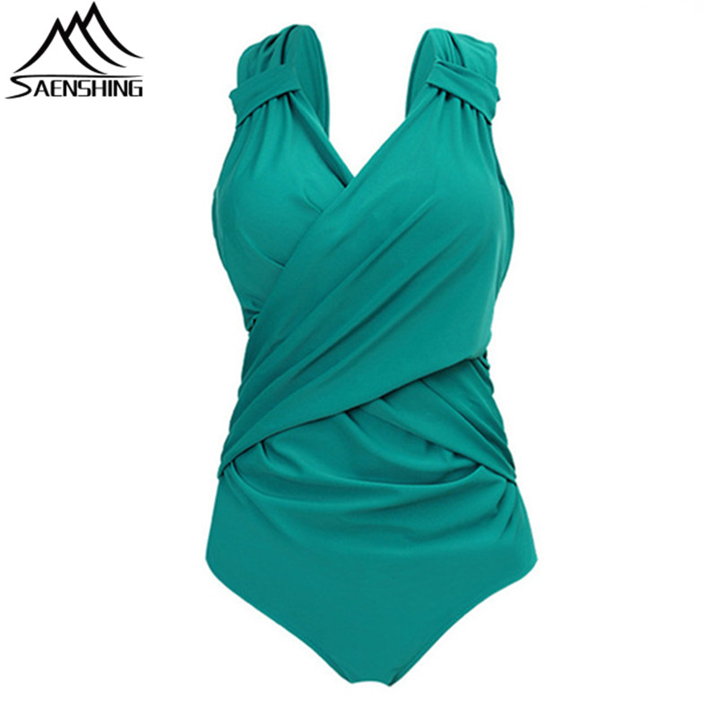 SAENSHING New Plus Size One Piece Swimsuit Women Summer Spring Solid Color Monokini Sexy Quick-Dry Swimwear Women One Piece 5XL plus size scalloped backless one piece swimsuit