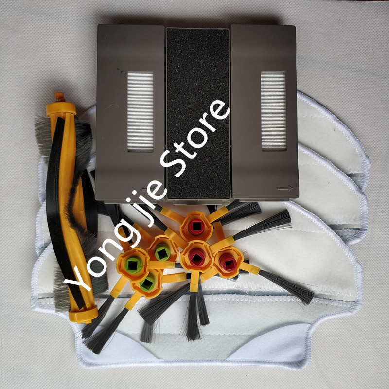 3*cloth +3* filter +1* Brush Main Agitator Brush +6* Side brush Replacement for Ecovacs Deebot Deeboo DT83 DT85 DM81 3 pairs hepa filter 1pc turbo brush main agitator brush 3 pairs side brush for deebot dt85 dt83 dm81 vacuum cleaner for house