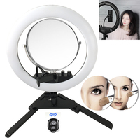 Photo Studio Ring Light with Mirror 14 400pcs LED Photography Phone Video Ring LED 2 Phone Holder With Stand For Camera