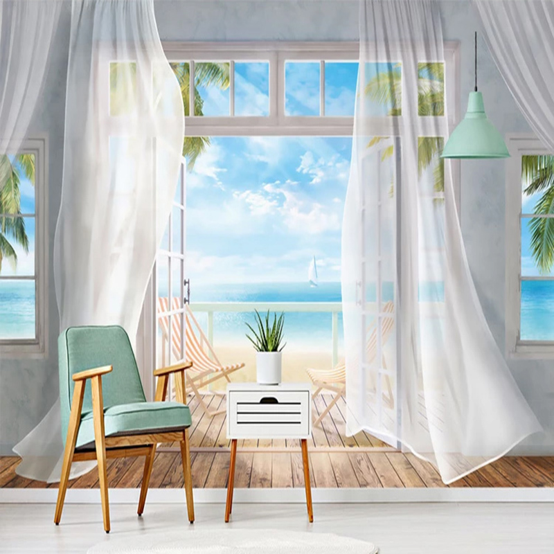 Photo Wallpaper 3D Seaside Landscape Curtain Balcony Murals Living Room Bedroom Home Decor Wall Painting Modern Fashion Frescoes
