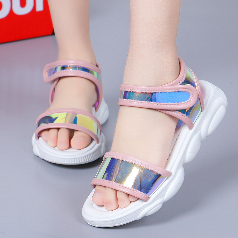2019 Summer Children's Shoes Comfortable Soft Baby Girl Sandals Girls Beach Non-slip Shoes Transparent Bottom Children's Shiny F