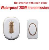 5 wall & 280M & work music bell wireless doorbell Waterproof wireless door chime,wireless  door ring music door bell