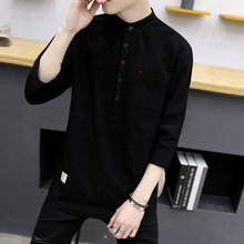 A short sleeved shirt Male version trend Elbow Cotton linen Men's shirt clothes