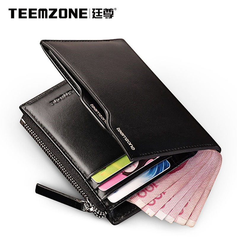 ФОТО Teemzone Brand Men Wallet Genuine Leather Credit Card Holder Top Cowhide Purse Credit Card Wallet Men's Wallet Free Shipping