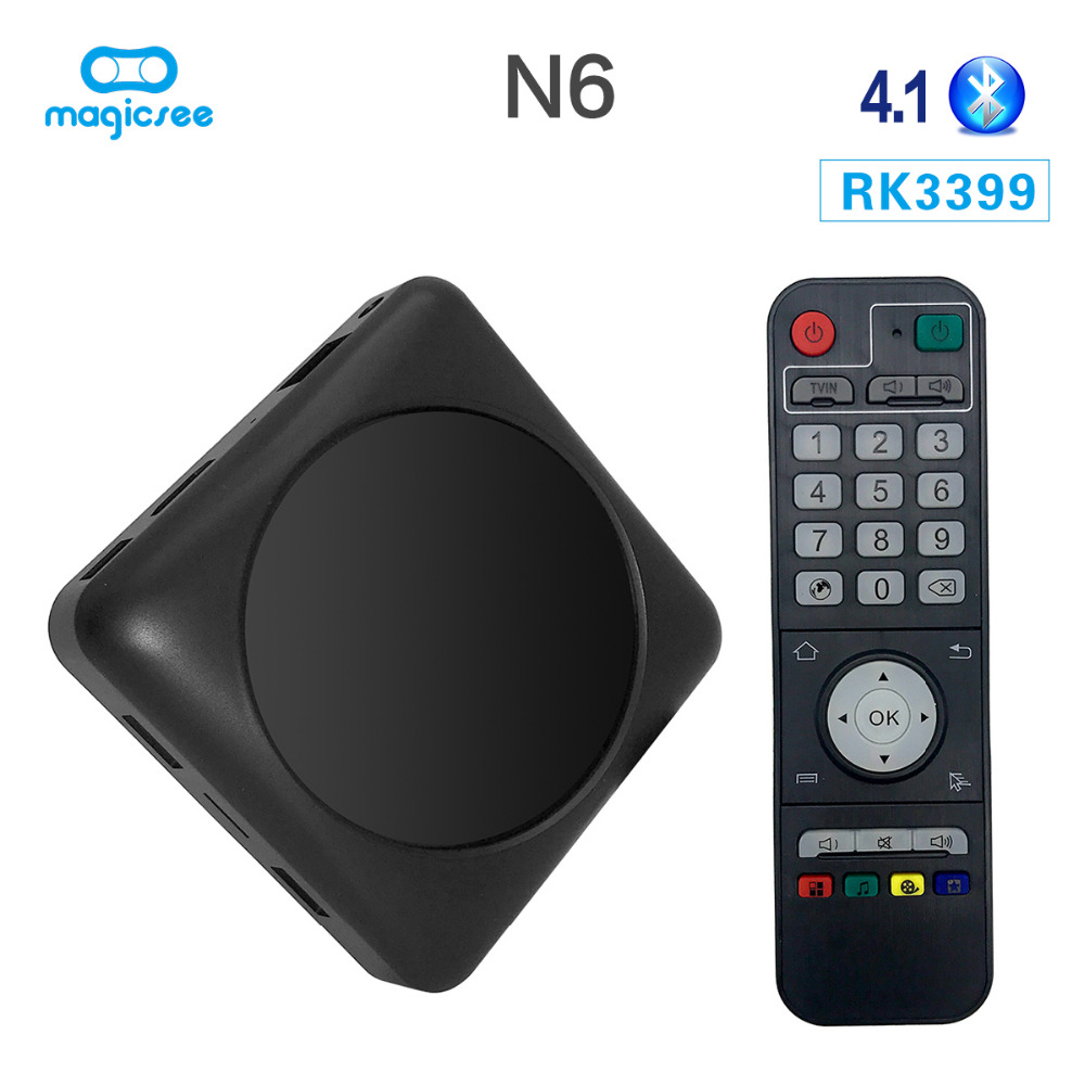 Magicsee N6 Max RK3399 Android 7.1 TV BOX 4G 32G Rom 2.4 + 5G double Wifi 1000M LAN BT 4.1 Smart Box 4K décodeur - 2