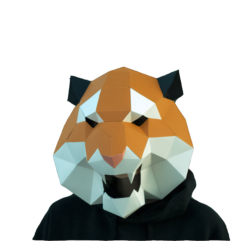 Tiger DIY Mask Cosplay Christmas Costume  Adult Children Cardboard Breathable Halloween Ricky Funny Masks