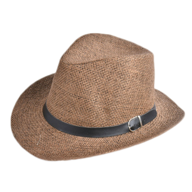 e54620d0636 New Cowboy Cap Summer Beach Travel Sunhat Popular Unisex Men Women Straw Hat  with Black Belt