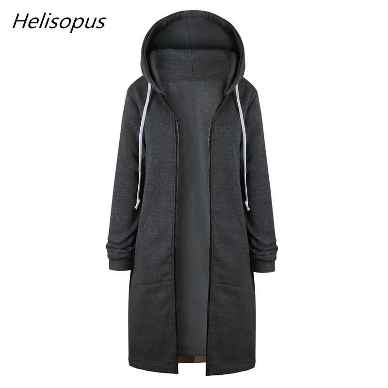 Helisopus Women's Casual Jacket Spring Autumn Warm Long Sleeve Loose Hoodies Jacket Femme Long Outwear Coats Plus size 5XL Mujer