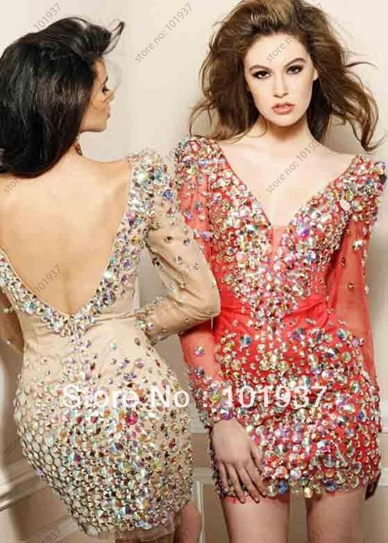 Long sleeve short beaded prom dress