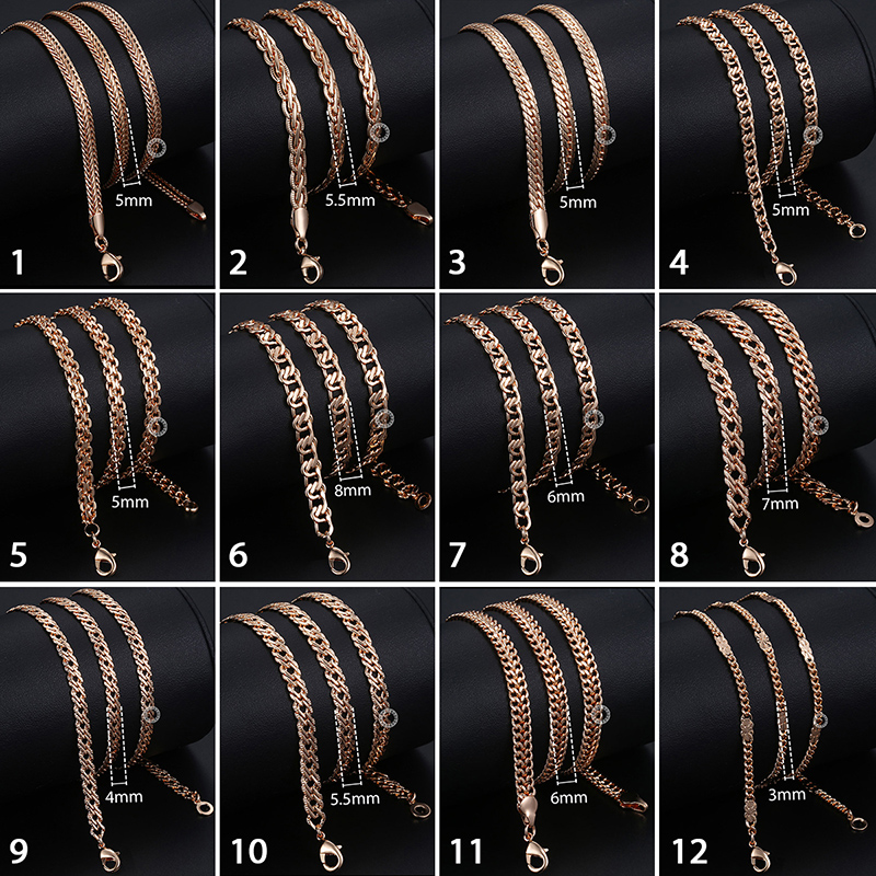 Personalize Necklace For Women Men 585 Rose Gold Venitian Curb Snail Foxtail Link Chains Necklace Fashion Jewelry 50cm 60cm CNN1 4