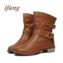 ifang Fashion Women Boots Autumn Winter Martin Ankle vintage boots Women Shoes Woman Women's Motorcycle Boots