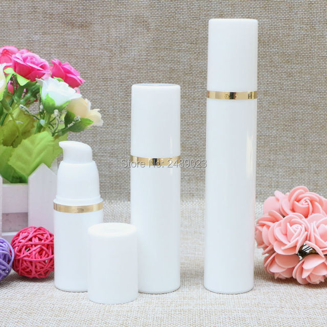 50ml White Airless Vacuum Pump Lotion Bottle With Gold Line Used For ...
