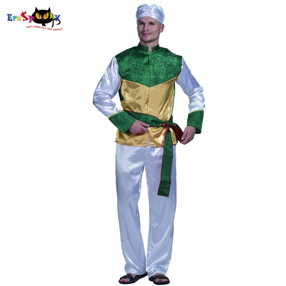 Men Bollywood Star Arabian Businessman Merchant Costume Carnival Party Adult Male Cosplay Outfits Clothing Halloween Costumes