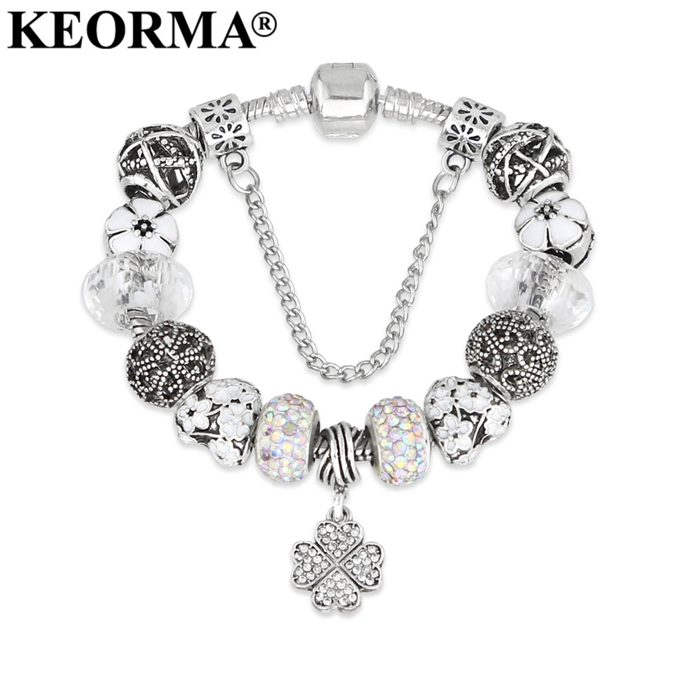 KEORMA Fashion Design White Glass Beads Four Leaf Clover Charm Bracelets& Bangles for Women Luxury Jewelry for Mother's Day Gift