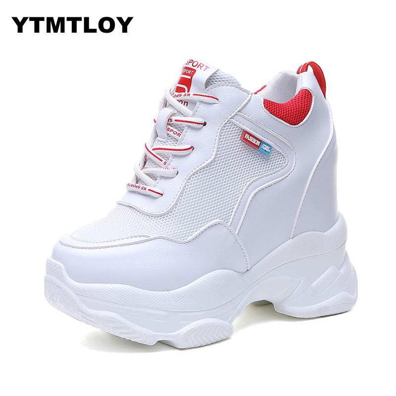 US $16.97 30% OFF|2019 HOT Trendy Shoes High Top Sneakers Women Platform Ankle Boots Basket Femme Chaussures Femmes Height Increase Shoes White in