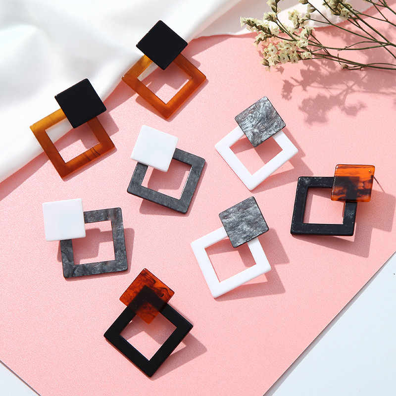 New Fashion Acrylic Earrings For Women Leopard Geometric Earrings Korean Style Small Simple Jewelry Acetate Earrings Brincos