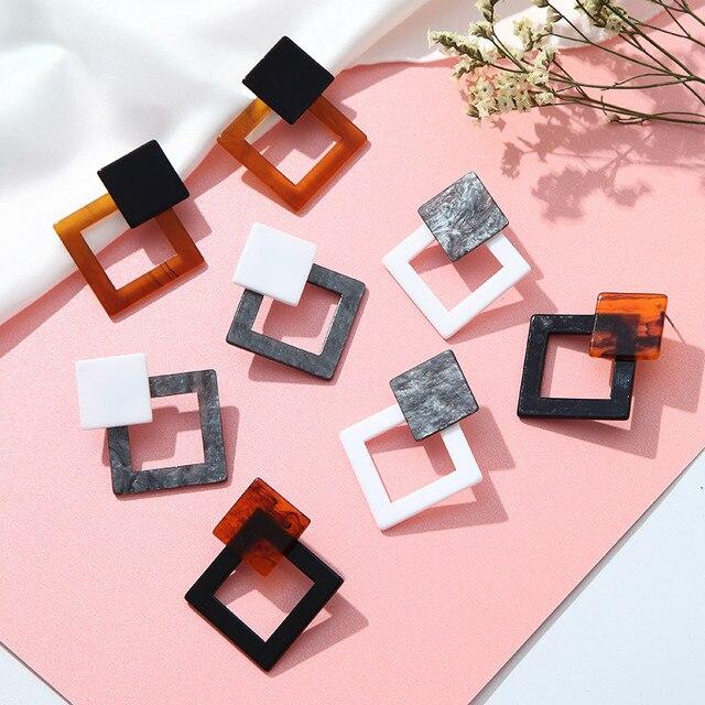 New Fashion Acrylic Earrings For Women Leopard Geometric Earrings Korean Style Small Simple Jewelry Acetate Earrings Brincos