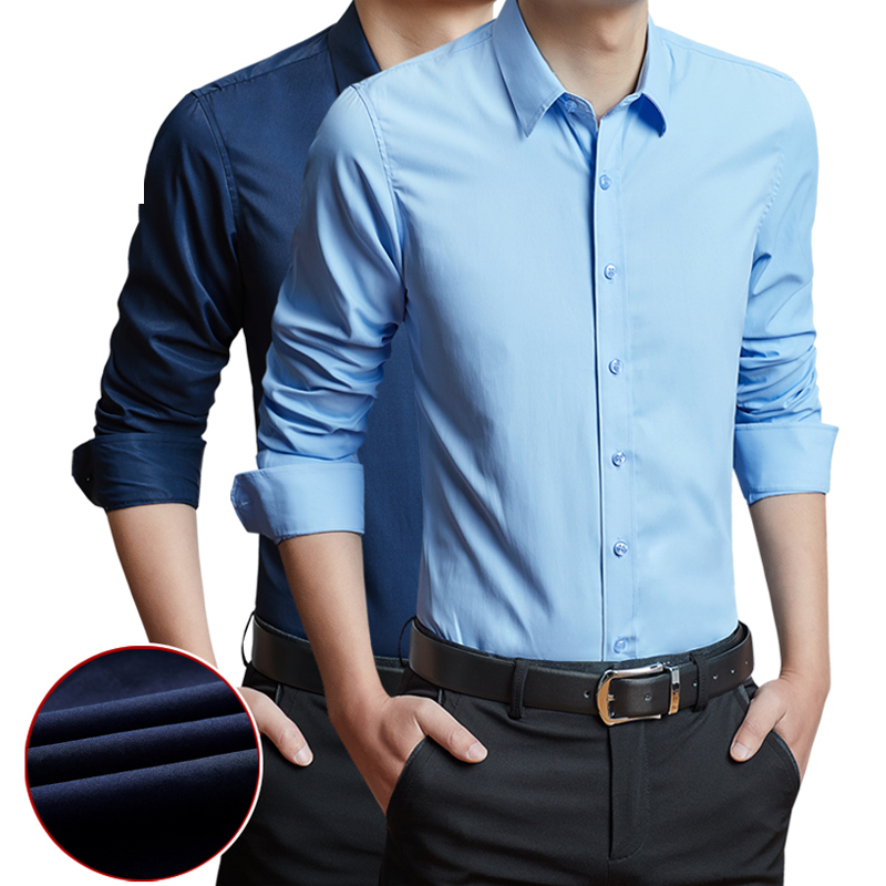 Men Shirt Long Sleeved Without Pocket Classical Male Formal Business Shirt Casual Men Dress Shirts Comfortable Clothing