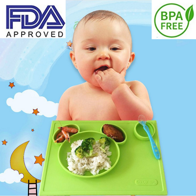 Cartoon baby silicone plate for children zoo animal pattened safe bowl tableware feeding dishes Drop shipping