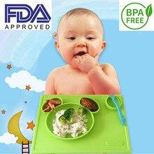 Bande dessinée bébé plaque de silicone pour enfants zoo animal pattened bol vaisselle d'alimentation plats expédition de Baisse