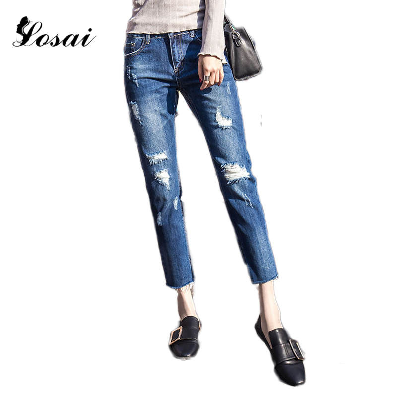 Spring New Arrival Women Jeans Ripped Holes Fashion Straight Ankle Length Mid Waist Famale Washed Denim Pants Cotton Trousers spring new fashion cotton jeans women loose high waist washed vintage big hole ripped ankle length denim straight pants mz1535
